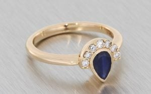Rose Gold Sapphire Pear with Mini Half-Halo - Portfolio
