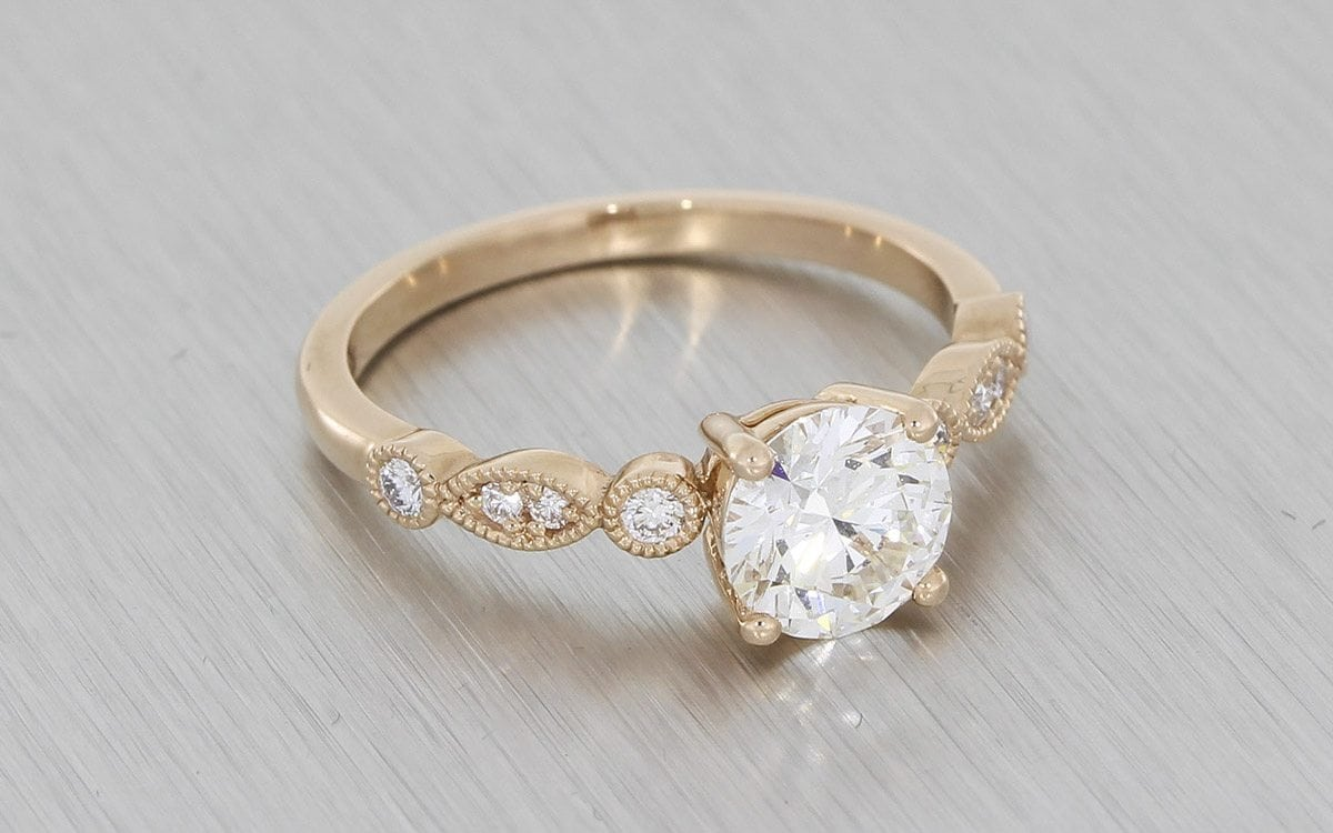 Rose Gold Vintage Engagement Ring with Milgrain Shoulders