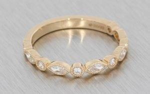 Rose gold vintage marquise and round diamond wedding band - Portfolio
