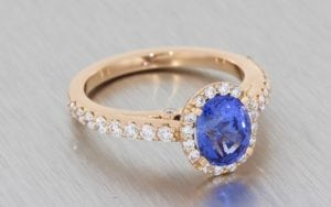 Stunning Sapphire Halo Ring Set in Rose Gold - Portfolio