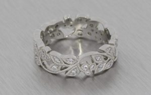 Stunning Vintage, Floral-Style, Platinum Wedding Band with Milgrain - Portfolio
