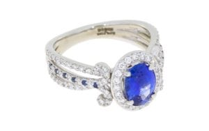 Vintage Sapphire Bridal Band Set with Diamond Halo and Hidden Ruby - Portfolio