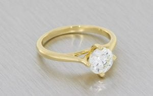 Yellow Gold And Diamond Solitaire Engagement Ring With A Hidden Blue Diamond-Portfolio