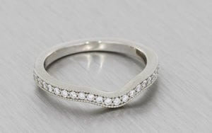 Antique Inspired Fitted Wedding Band With Micro Prong Set Diamonds And Milgrain