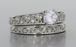 Palladium Scroll Ring Set