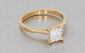Four Claw Rose Gold Princess Cut Diamond