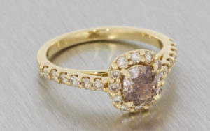 Yellow Gold Ring Set with a Centre Cognac Diamond Surrounded with a Champagne Diamond Halo