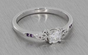Round diamond and amethyst ring with celtic knot work