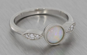 Platinum Opal Ring with Accent Diamonds