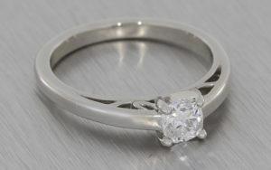 Platinum Solitaire Cushion Cut Diamond with Hidden Details